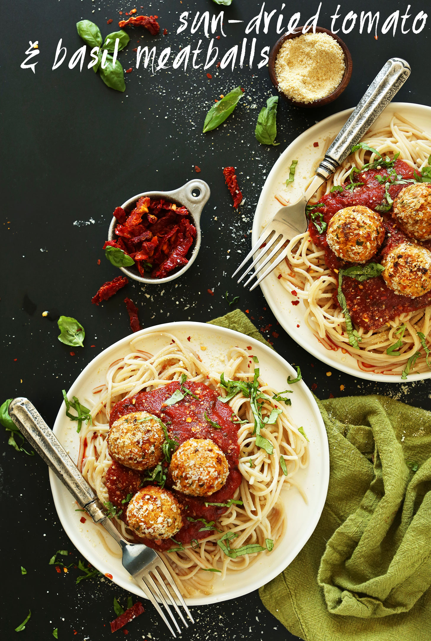 Plates of pasta with marinara and Vegan Chickpea Meatballs for a plant-based weeknight meal