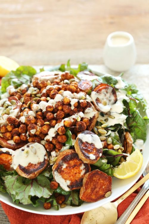 Big serving of our Roasted Sweet Potato and Chickpea Salad for a healthy summer dinner