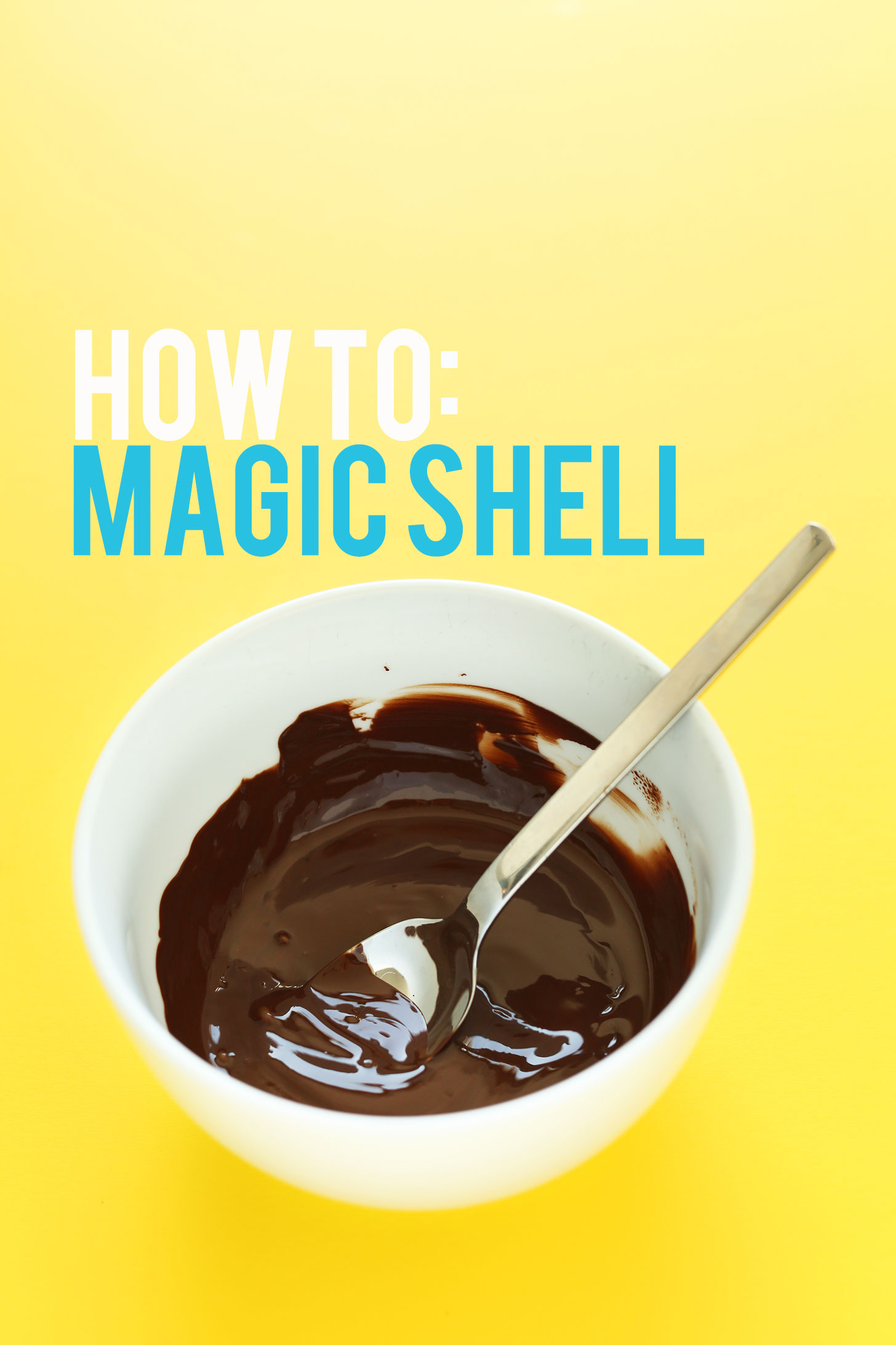 Stirring a bowl of melted chocolate for our homemade magic shell recipe
