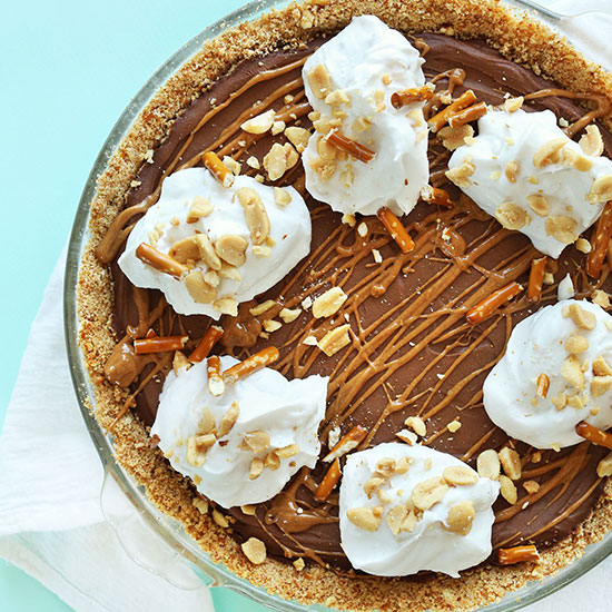 Pie pan filled with Pretzel Peanut Butter Chocolate Pie