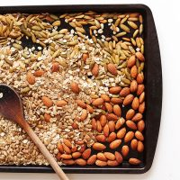 Baking sheet of nuts and seeds for making Toasted Pumpkin Muesli