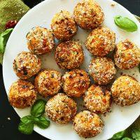 Plate of Vegan Sundried Tomato Basil Meatballs