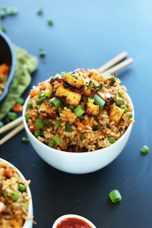 Bowl of the best Vegan Fried Rice recipe topped with Crispy Tofu