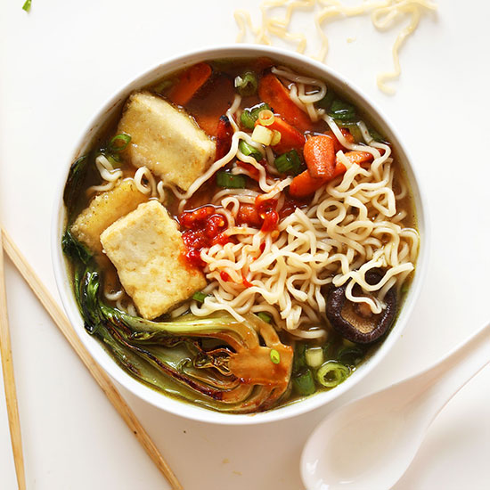 Bowl of Easy Vegan Ramen made with tofu and vegetables