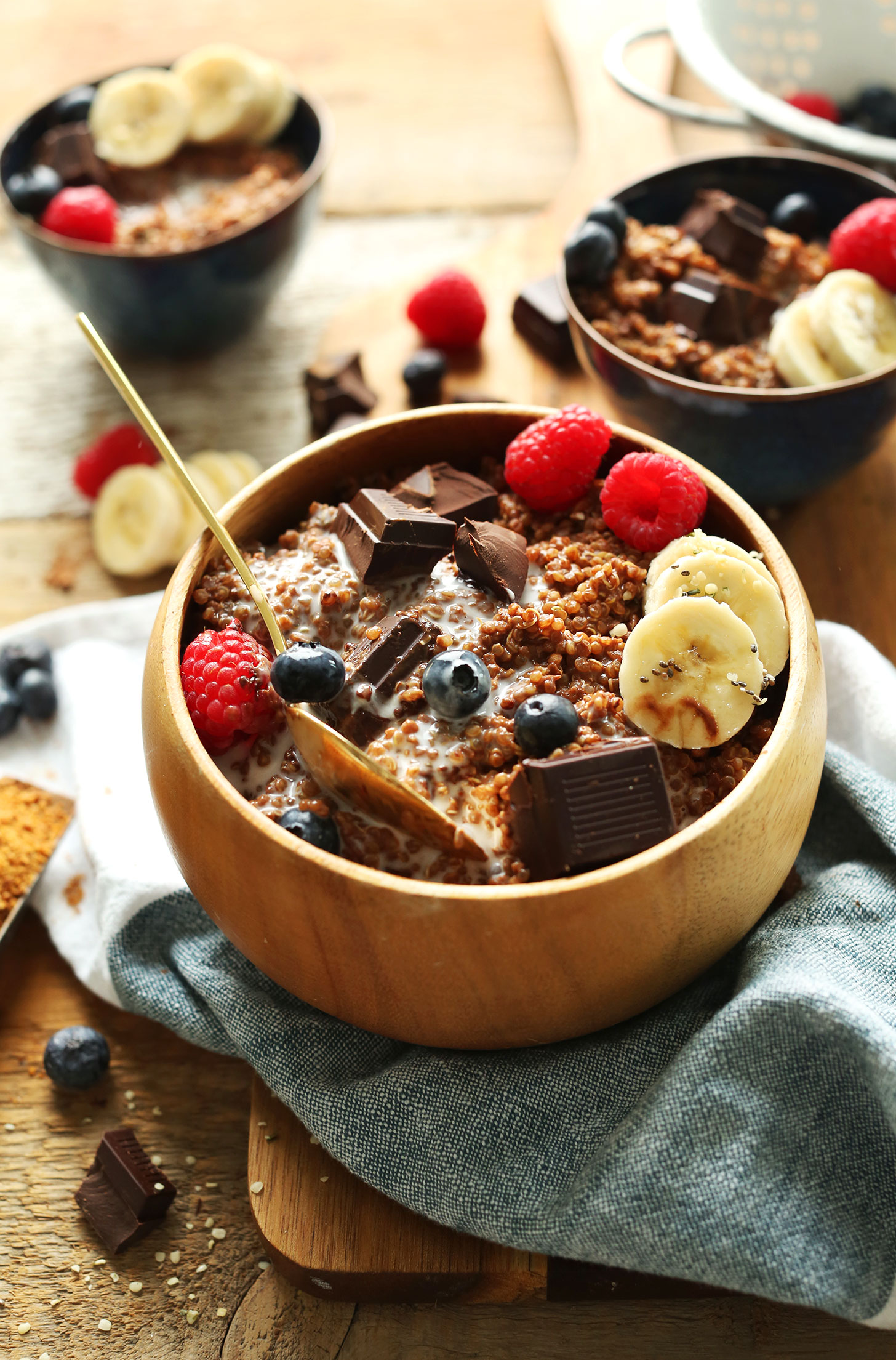 Fiber and protein-packed vegan breakfast of Dark Chocolate Quinoa Breakfast Bowls