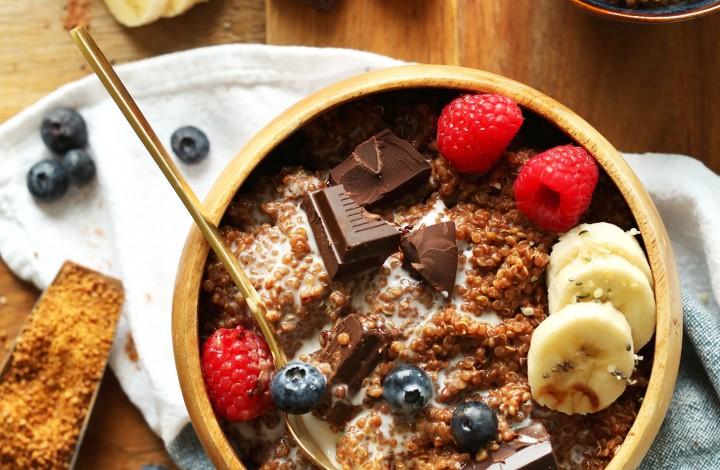 Enjoying a serving of our gluten-free vegan Dark Chocolate Quinoa Breakfast Bowl recipe
