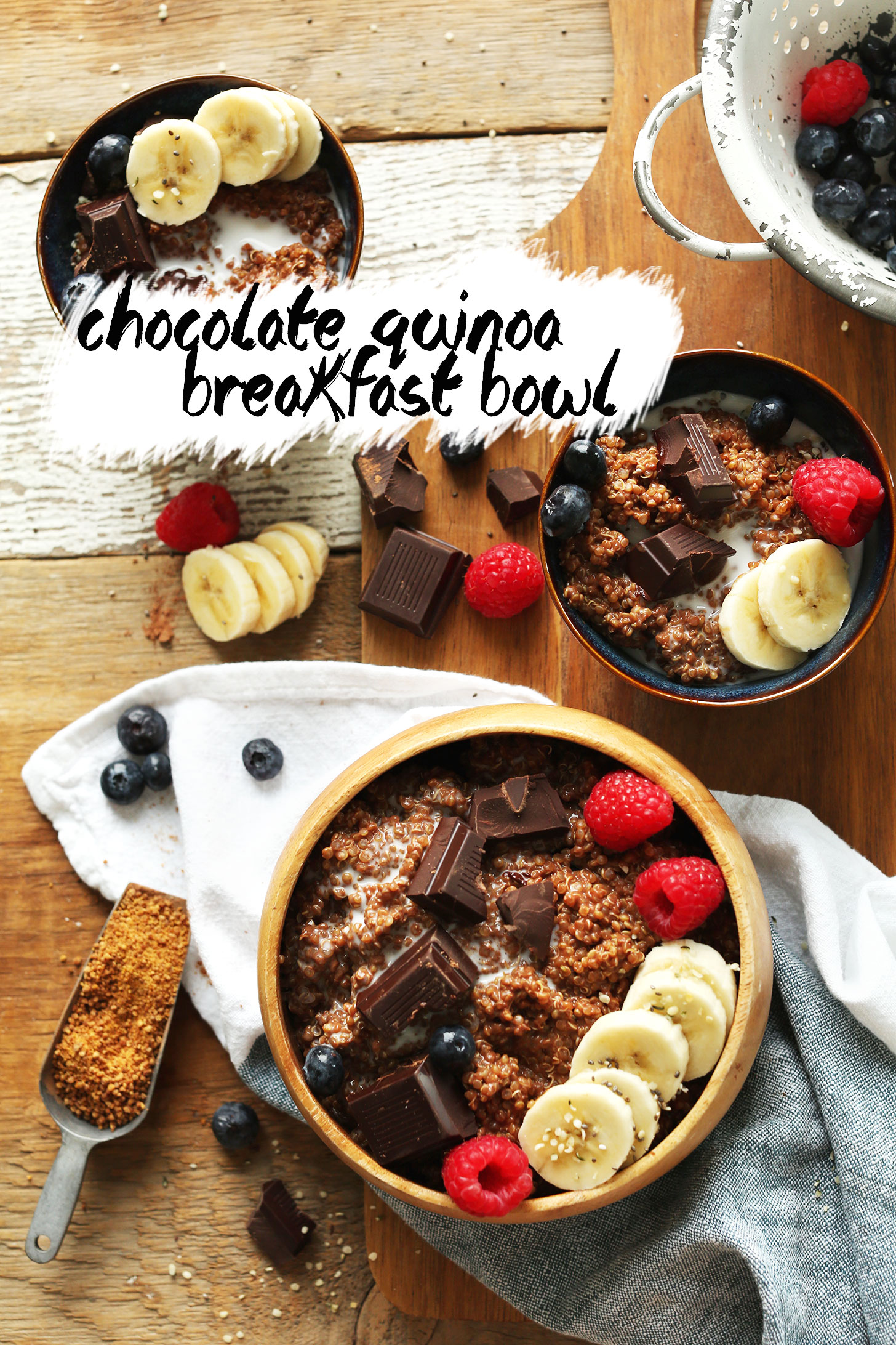 Breakfast bowls filled with our gluten-free vegan Chocolate Quinoa Breakfast Bowls recipe