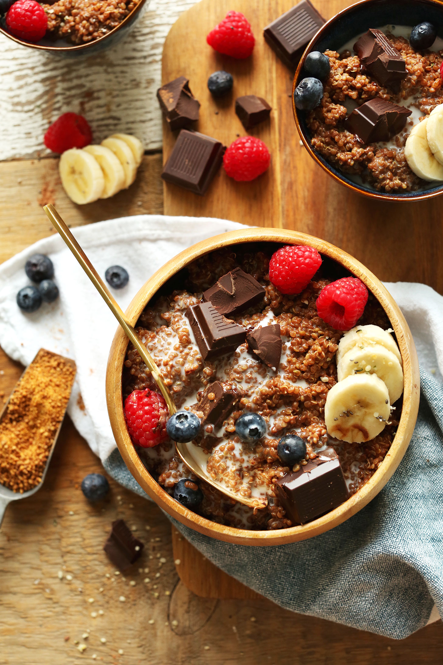 Enjoying a serving of our gluten-free vegan Dark Chocolate Quinoa Breakfast Bowl recipe