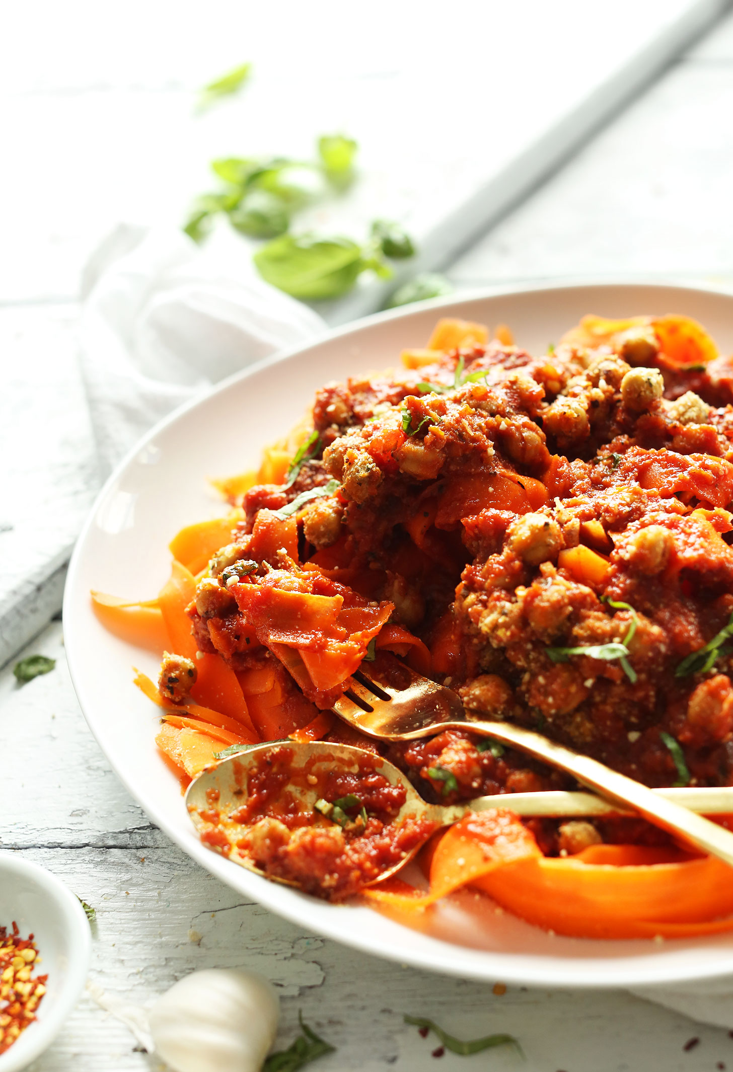 Big plate of our Chickpea Bolognese with Carrot Noodles for a gluten-free plant-based dinner