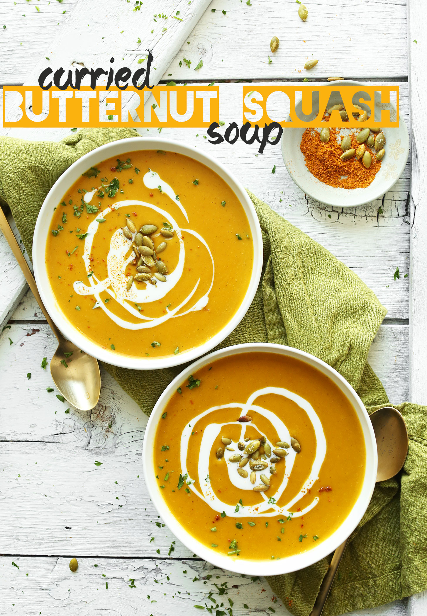 Bowls of our delicious Curried Butternut Squash Soup recipe perfect for fall