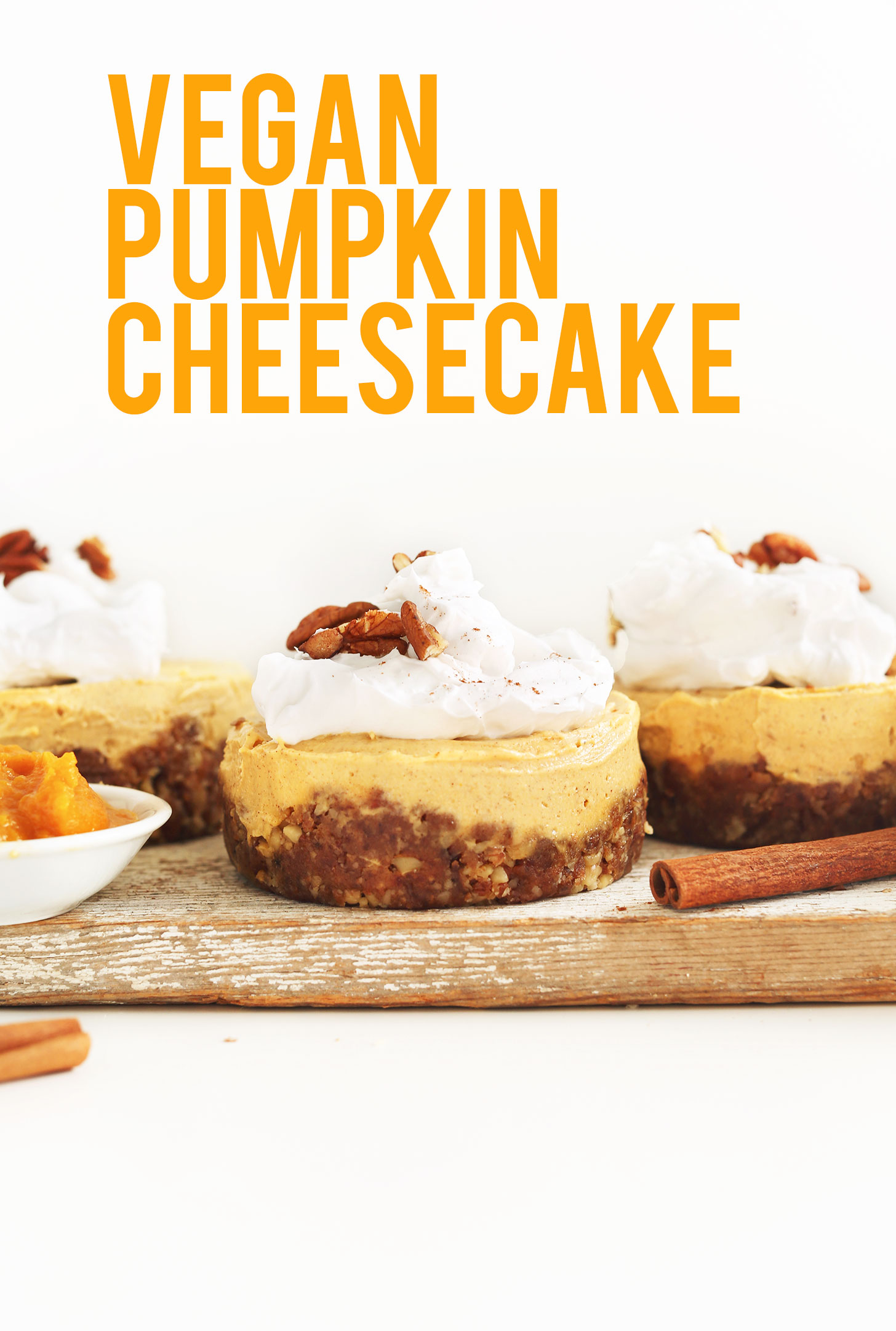 Cutting board with mini vegan pumpkin cheesecakes for a delicious fall dessert