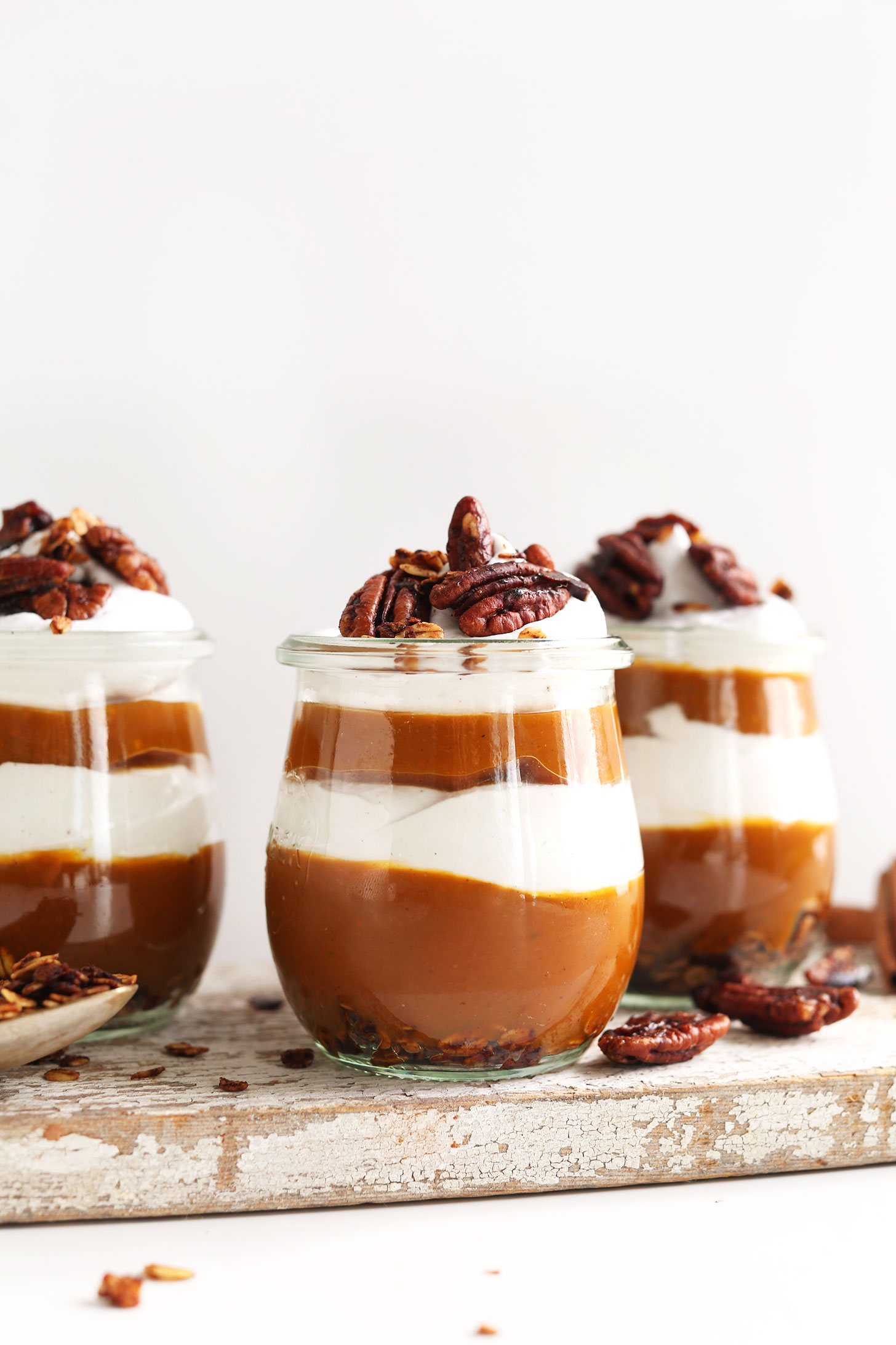 Gluten-free vegan Pumpkin Parfaits in cute jars