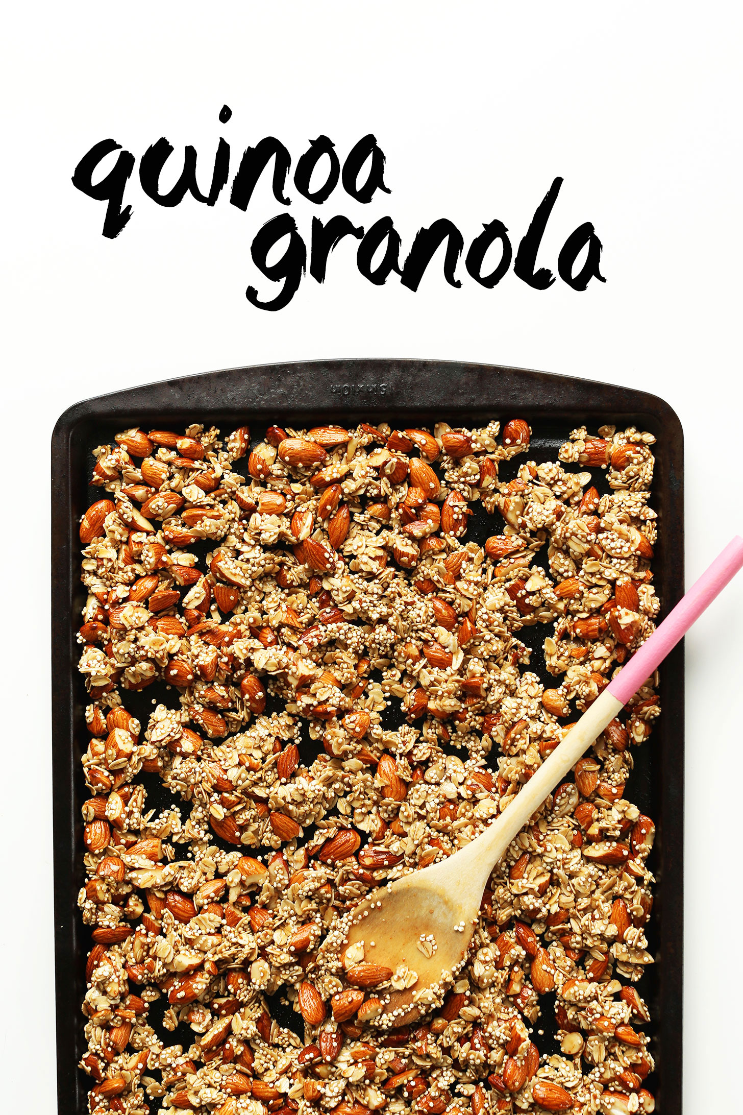 Baking sheet filled with ingredients for our Quinoa Granola with Oats & Almonds