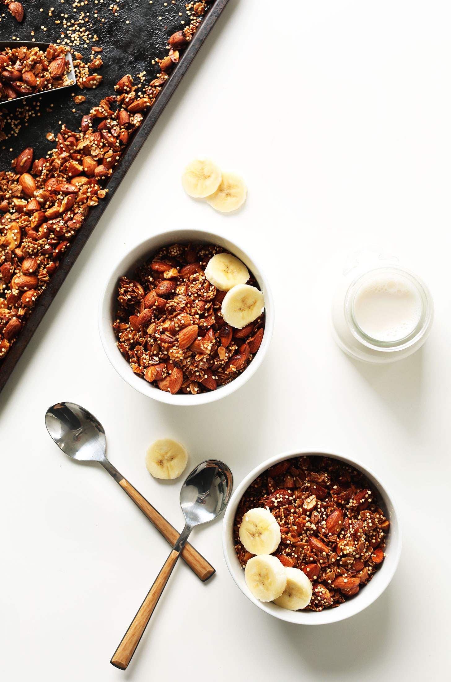 Bowls of our healthy gluten-free Quinoa Granola with Oats & Almonds