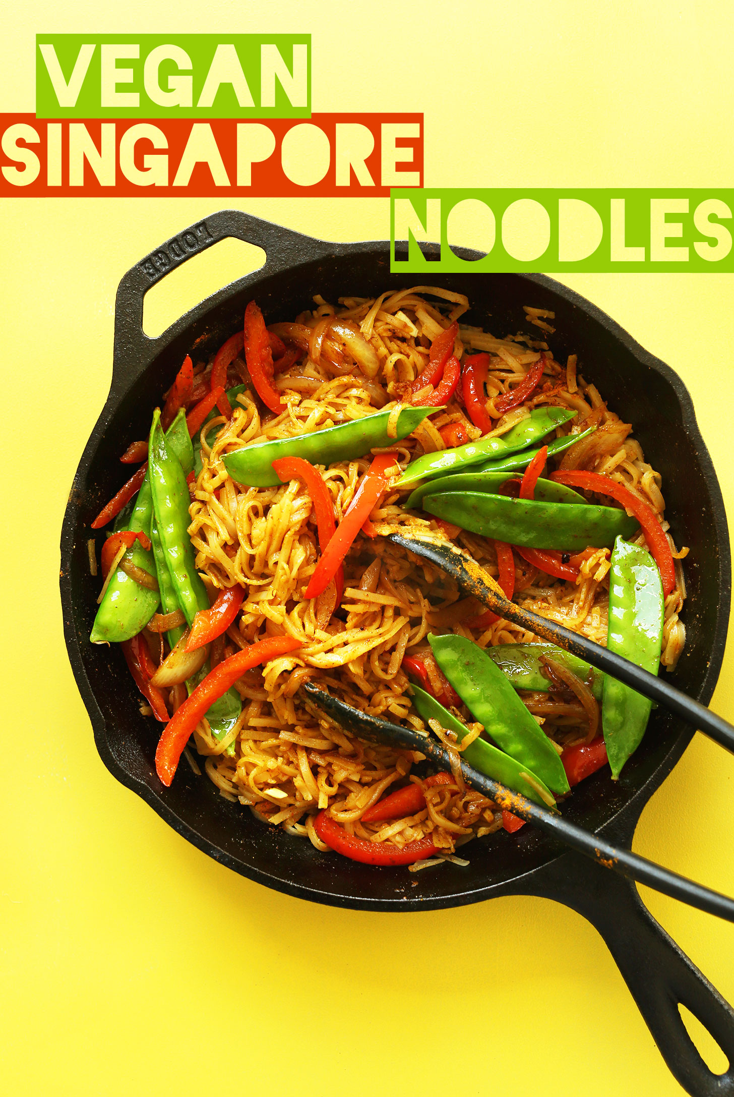 Cast-iron skillet filled with our healthy gluten-free vegan Singapore Noodles for dinner