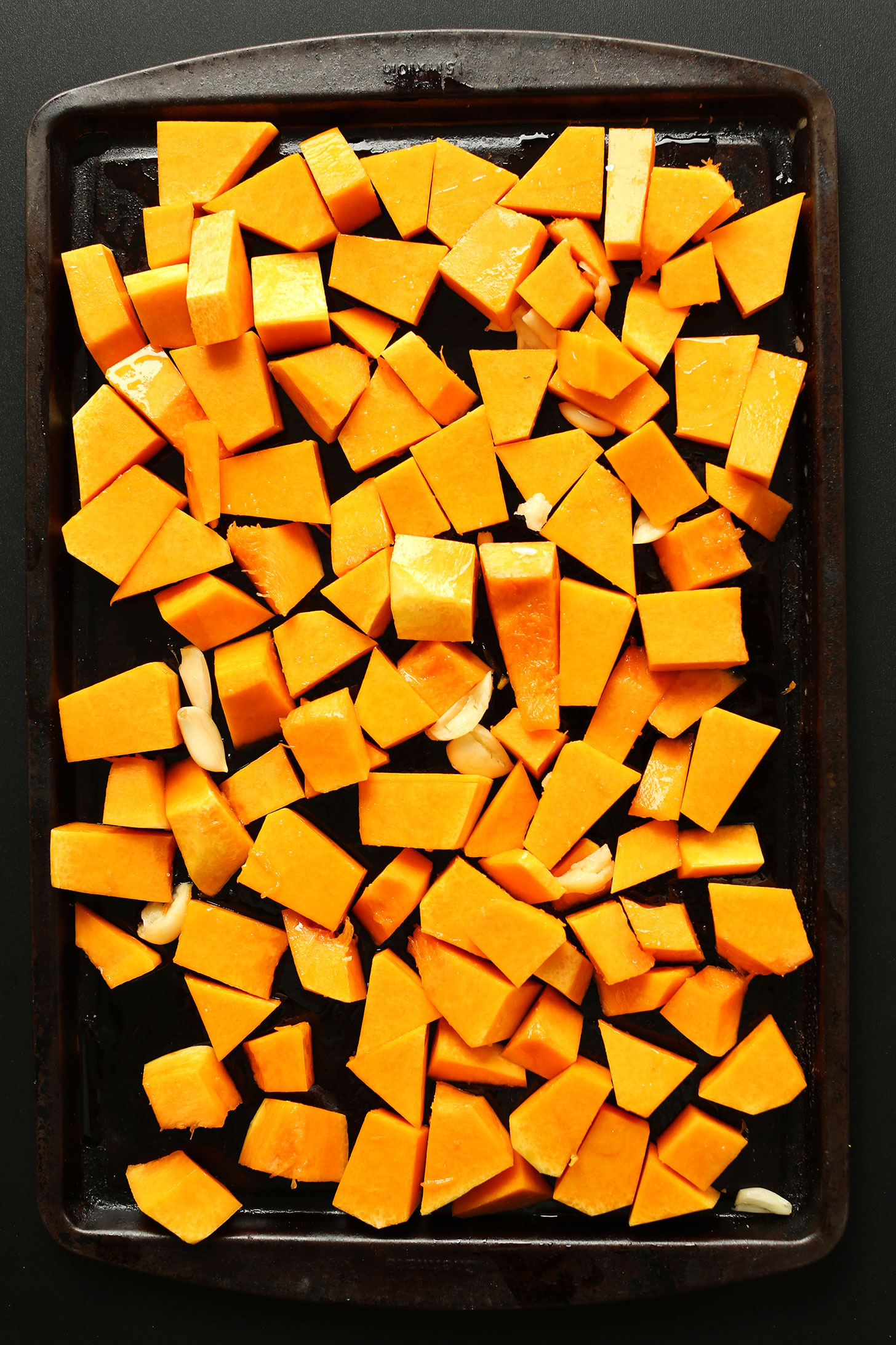 Roasting butternut squash to make homemade vegan pizza sauce