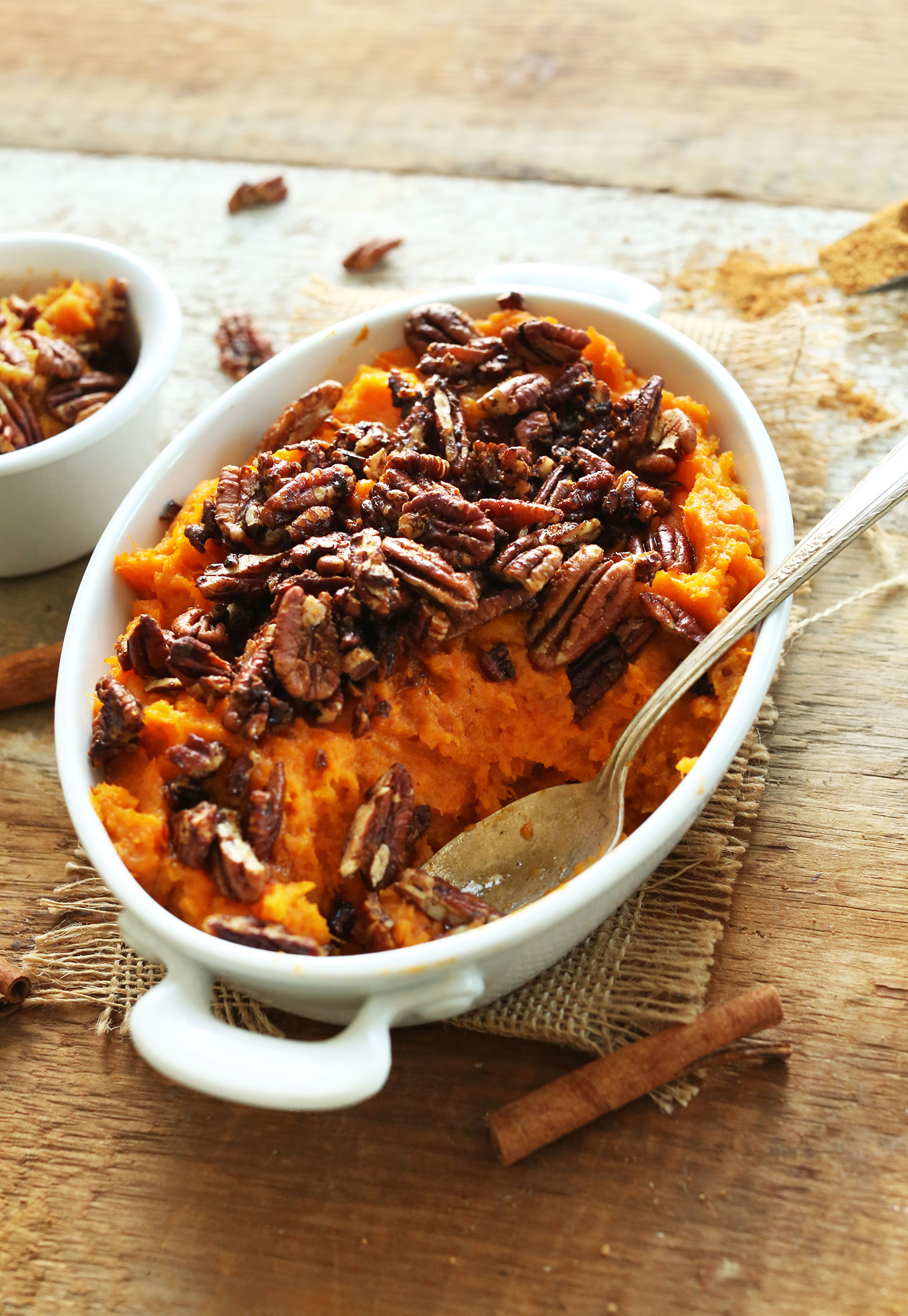 Gluten-free vegan fall recipe of Butternut Squash Sweet Potato Mash with Maple Cinnamon Pecans
