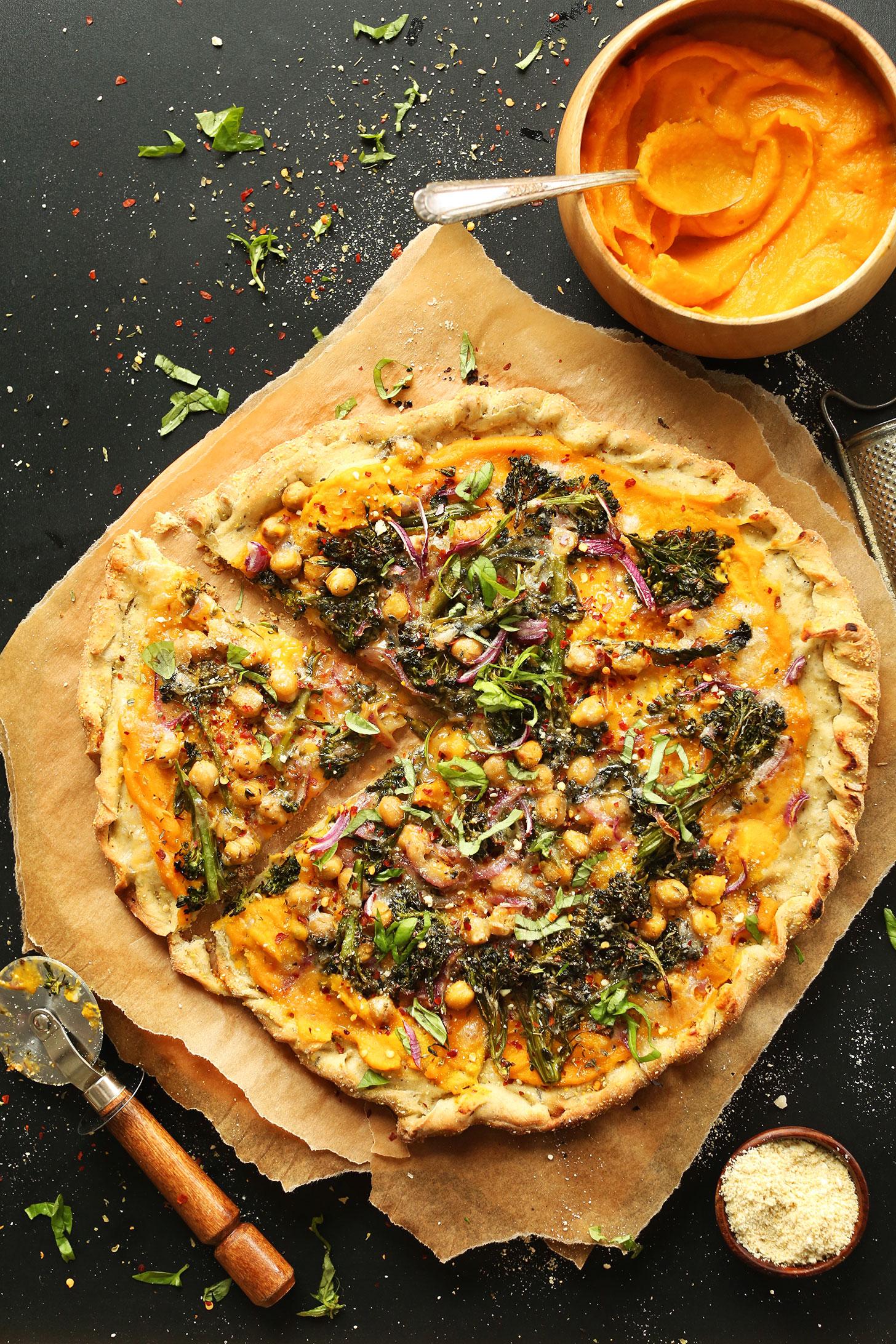 Our healthy Butternut Squash and Vegetable Pizza for a homemade vegan pizza night recipe