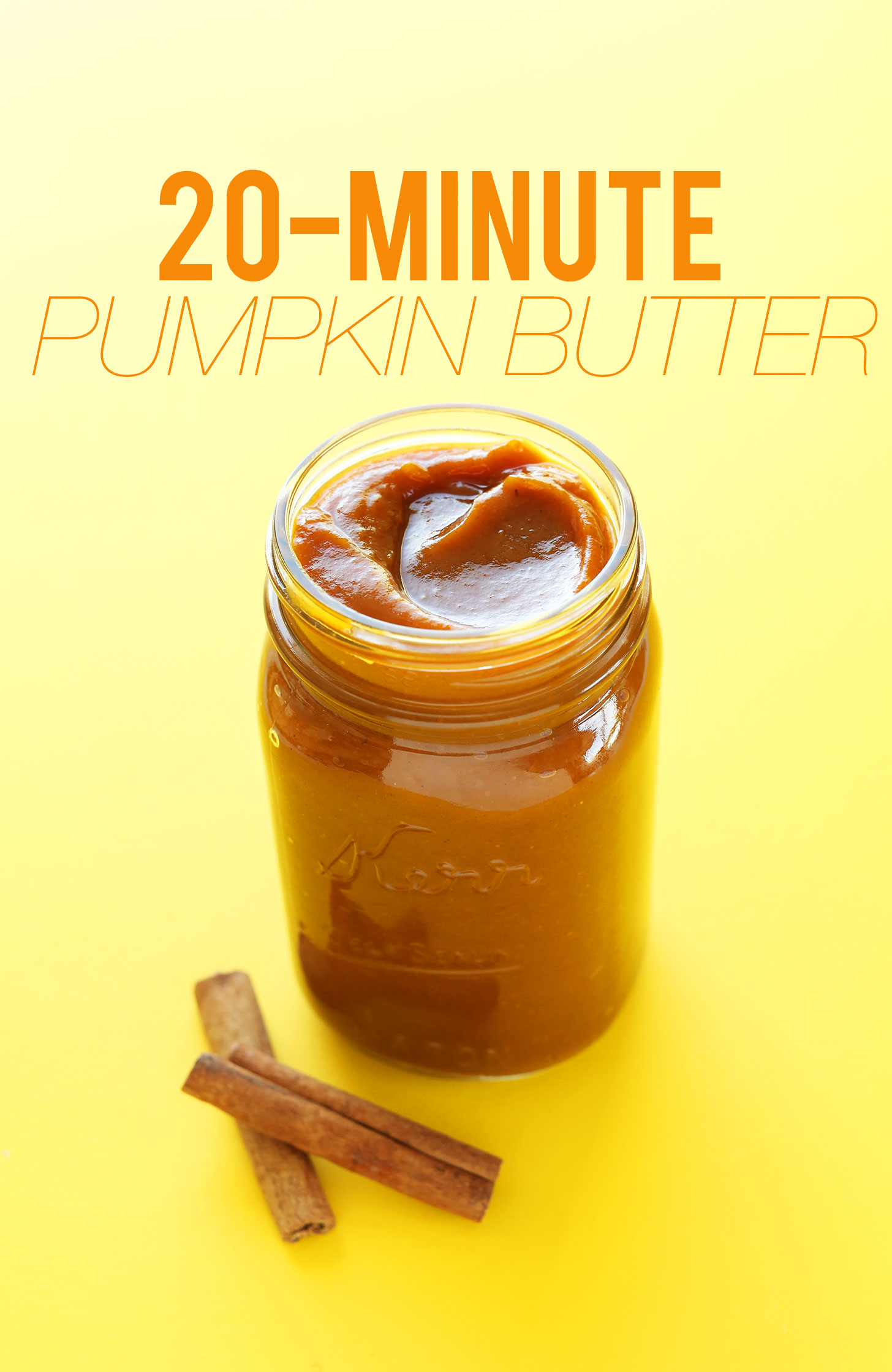 Jar filled with creamy vegan Pumpkin Butter for making delicious dessert and breakfast recipes