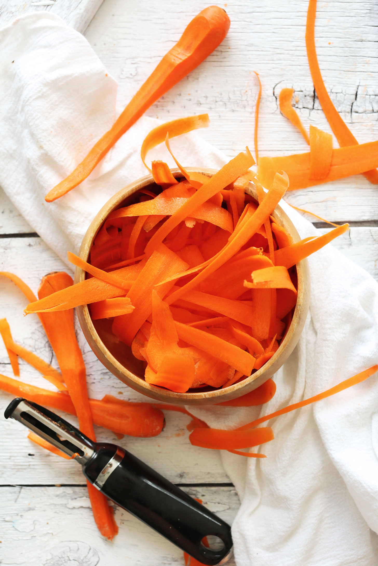 Bowl of Carrot Noodles made using a vegetable peeler