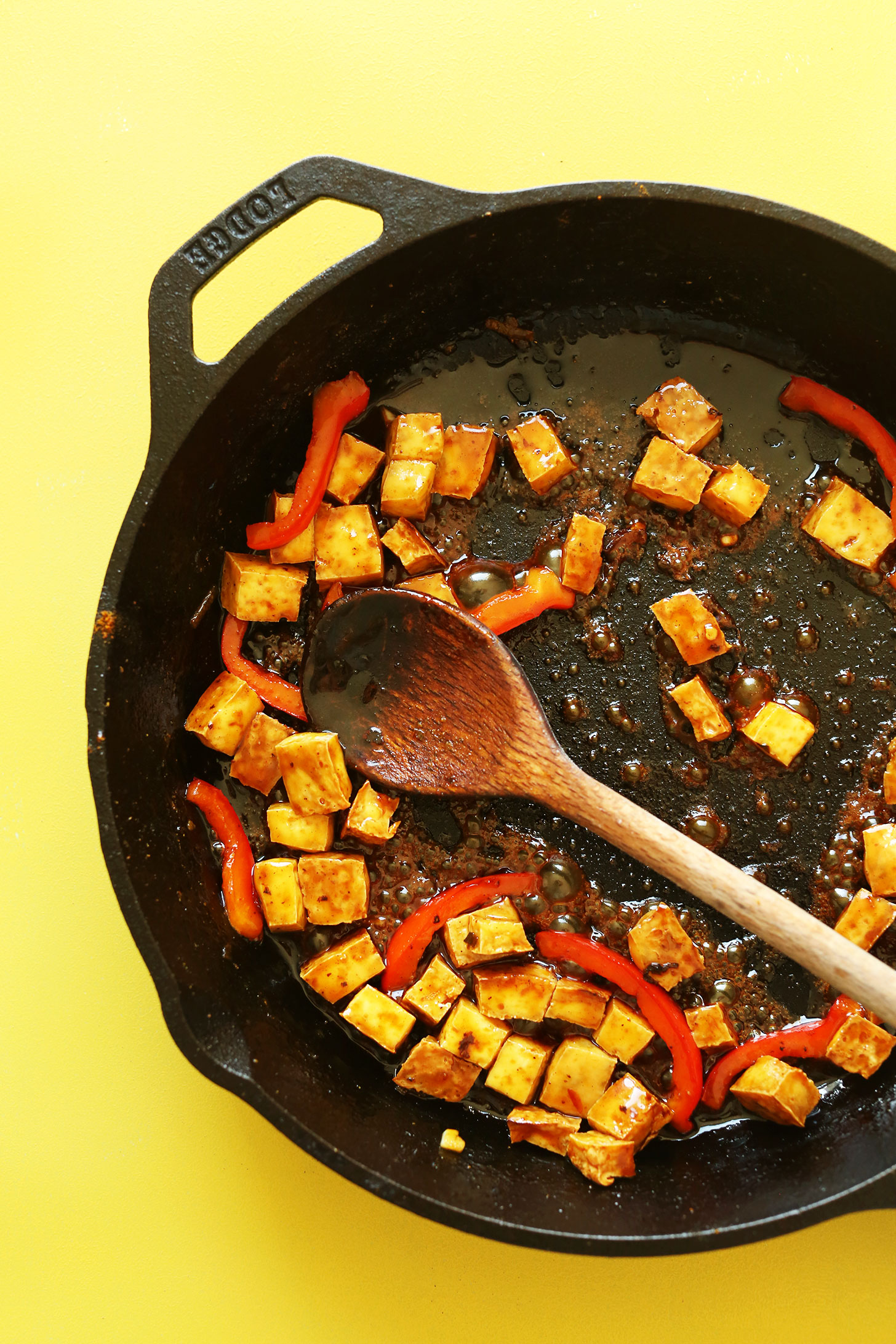 Cooking crispy tofu to add to our Vegan Singapore Noodles recipe