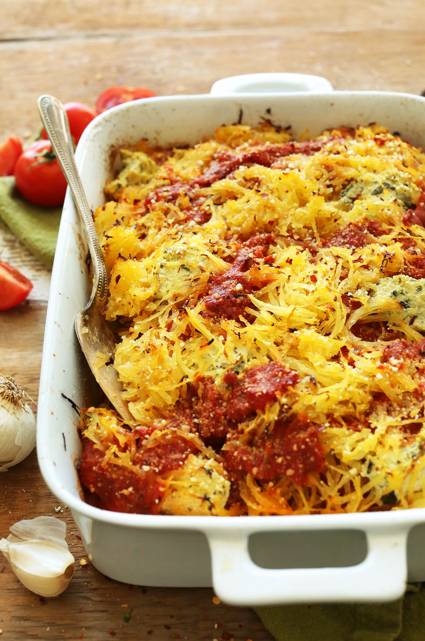 Ceramic Baking Dish Filled With Our Gluten Free Vegan Spaghetti Squash Lasagna Bake Recipe