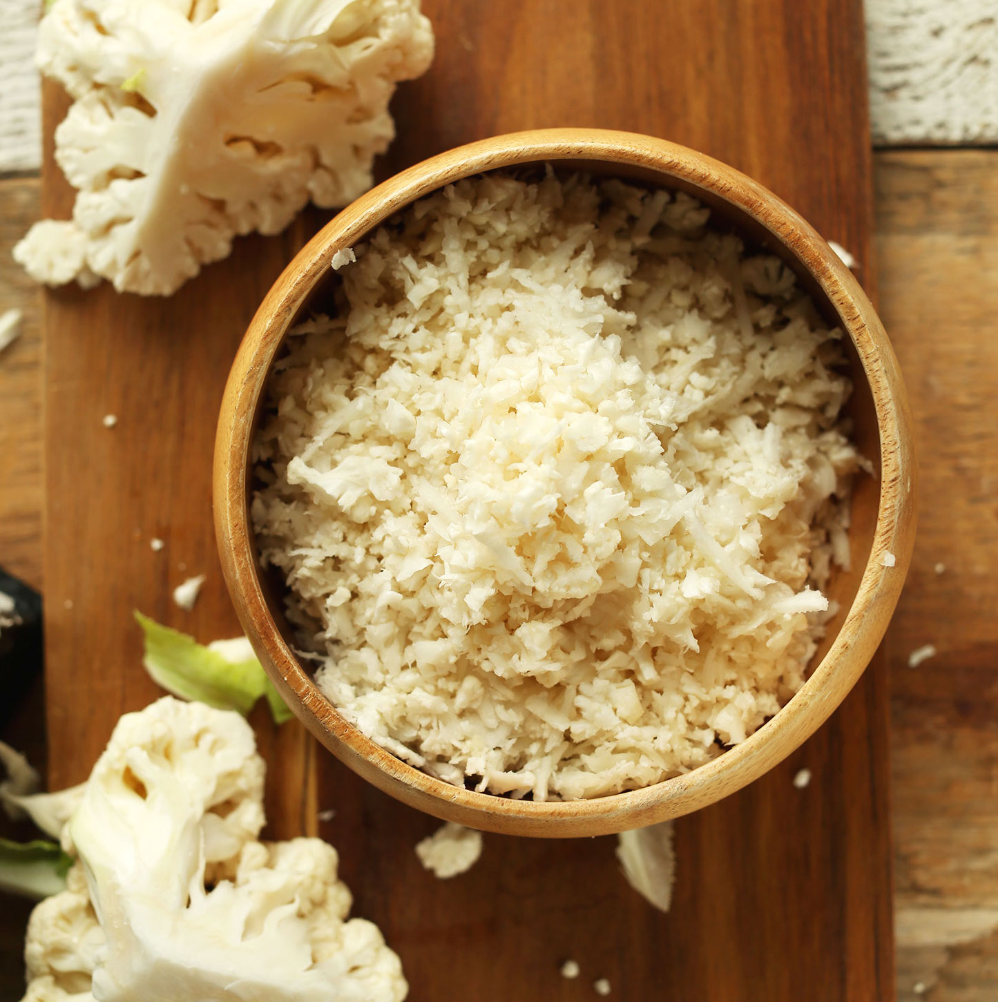 Close up shot of a bowl of cauliflower rice for our How to Make Cauliflower Rice Tutorial