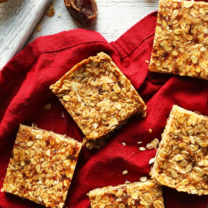 Batch of homemade gluten-free vegan Peanut Butter Granola Bars