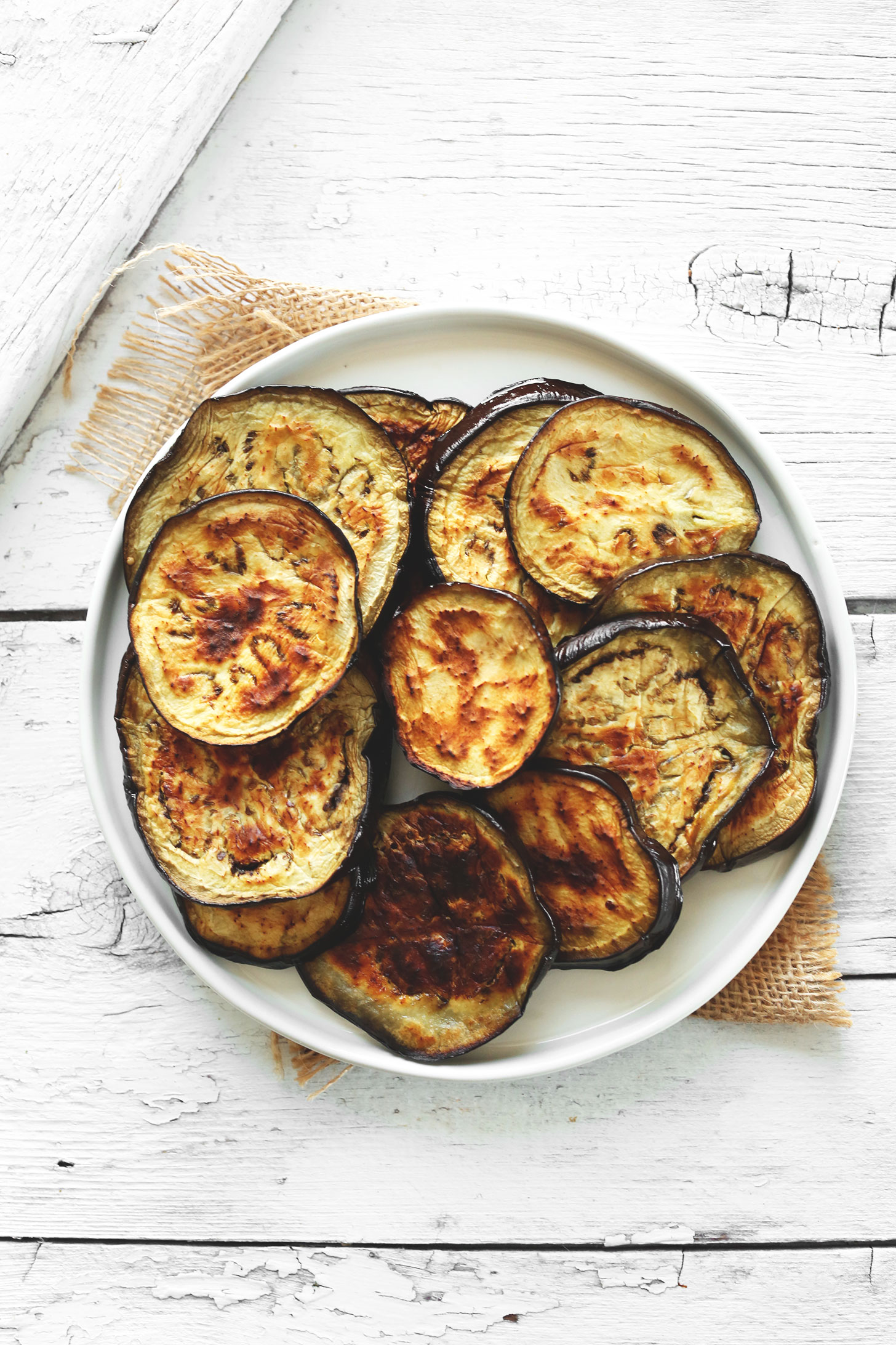 Freshly roasted eggplant slices for our homemade Smoky Harissa Eggplant Dip