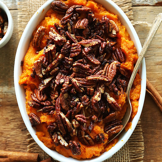 Pan of Sweet Potato Butternut Squash Mash topped with pecans