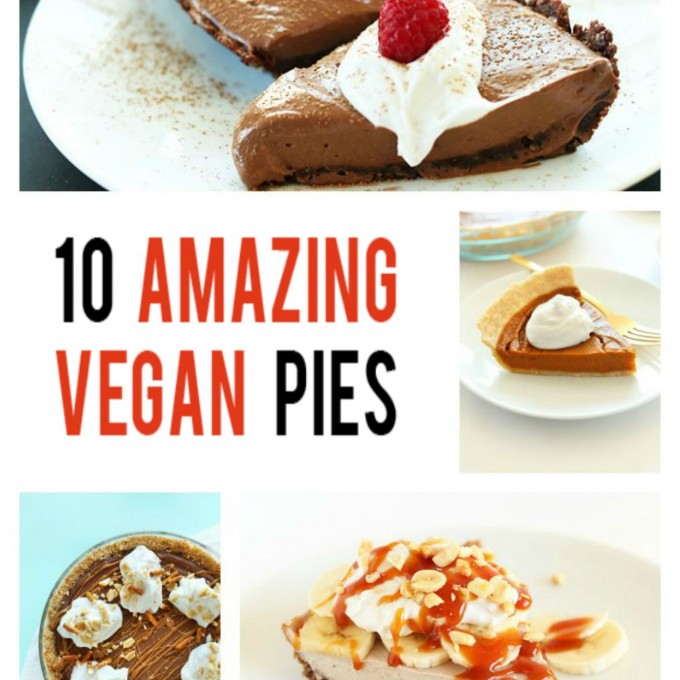 Assortment of photos for our roundup of 10 Amazing Vegan Pie Recipes