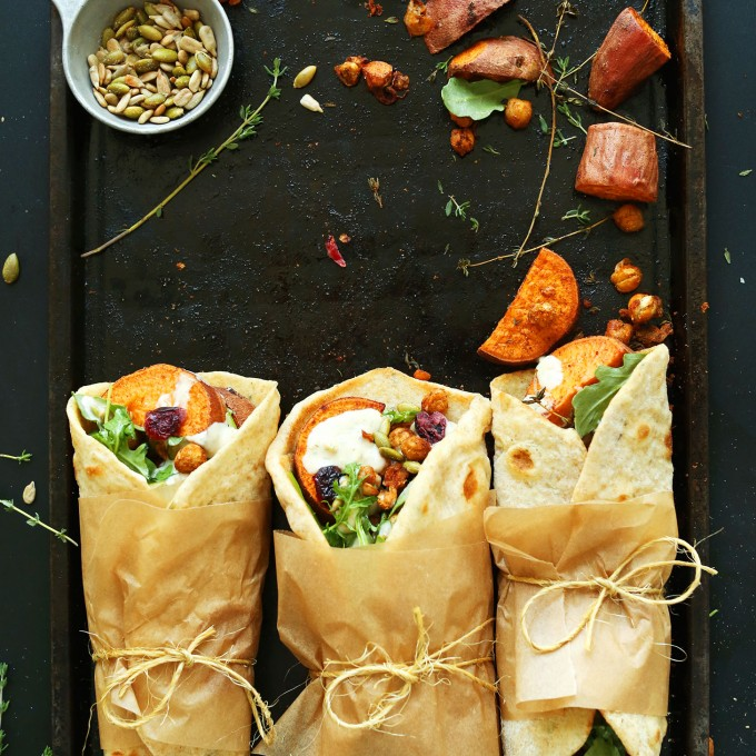Vegan Fall Thanksgiving Wraps ready to be devoured