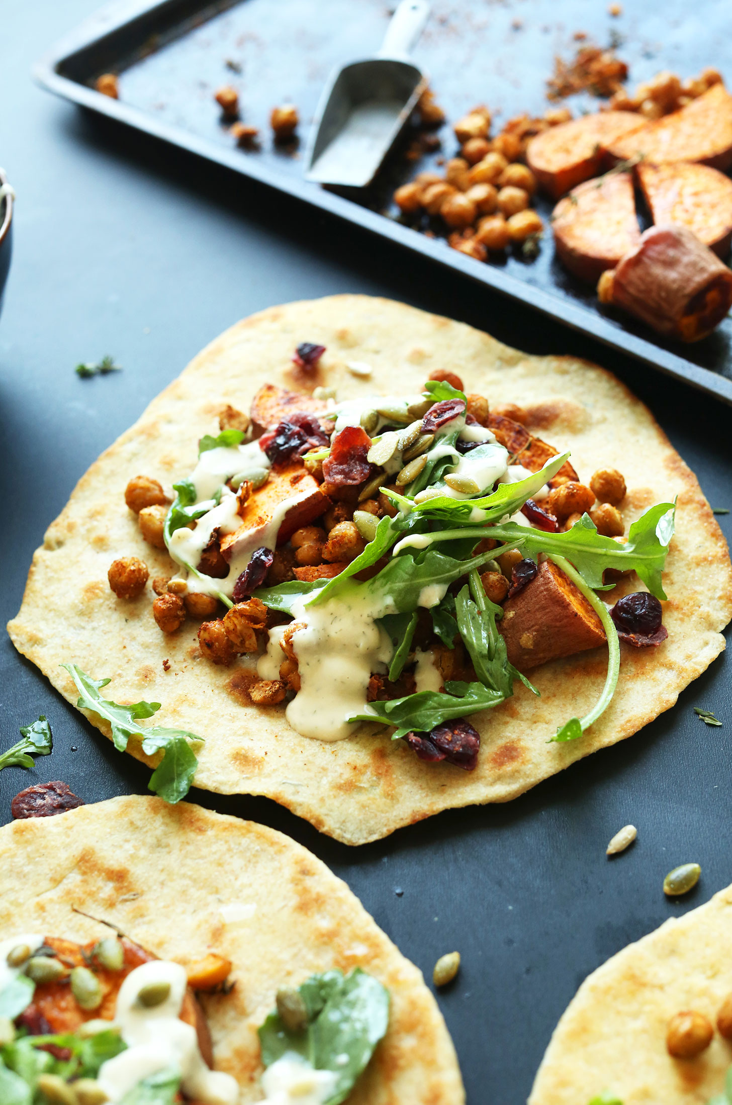 Making vegan Fall Bounty Thanksgiving Wraps for a healthy meal