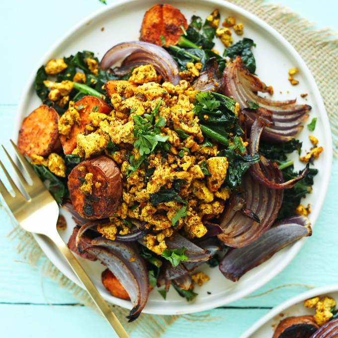 Big plate of Savory Tofu Scramble for a protein-packed plant-based breakfast