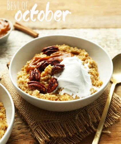 Bowl of Pumpkin Pie Oats for our best of October post