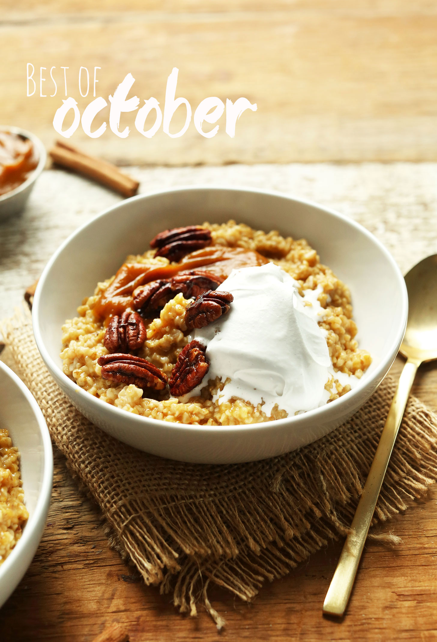 A bowl of Pumpkin Pie Oats to represent our Best of October post