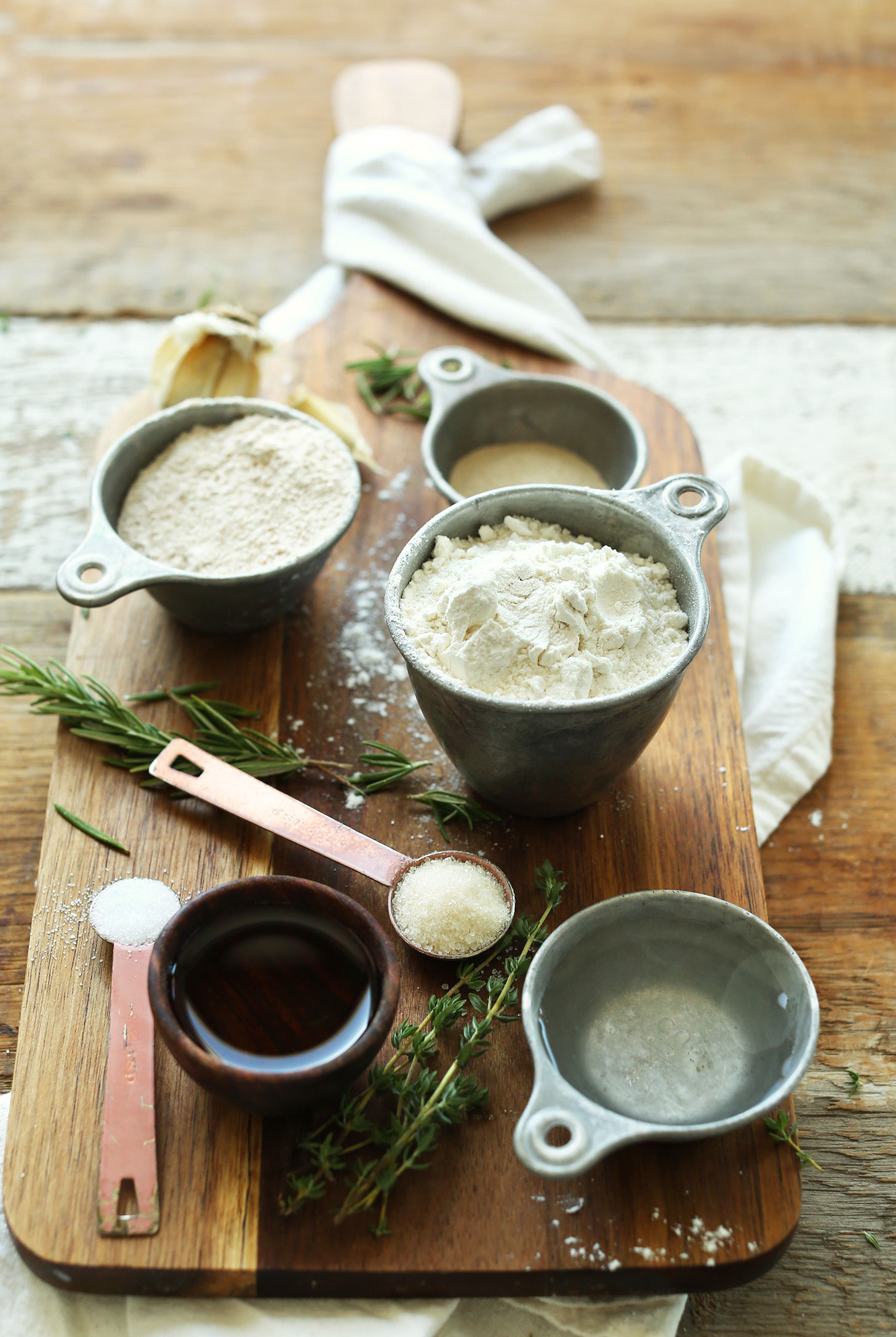 Ingredients for making healthy vegan flatbread wraps with spelt flour