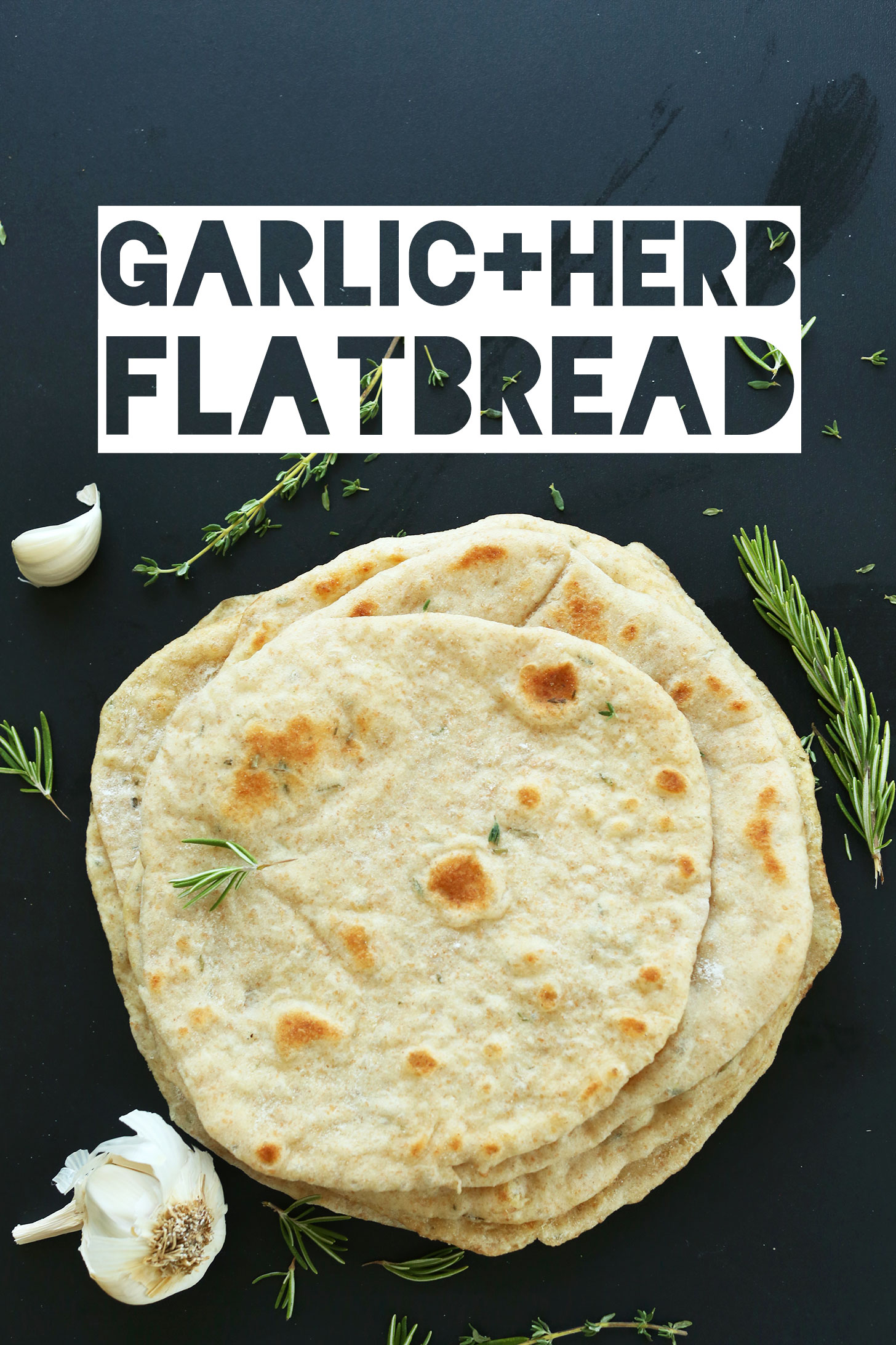 Stack of healthy homemade garlic and herb flatbreads perfect for making wraps