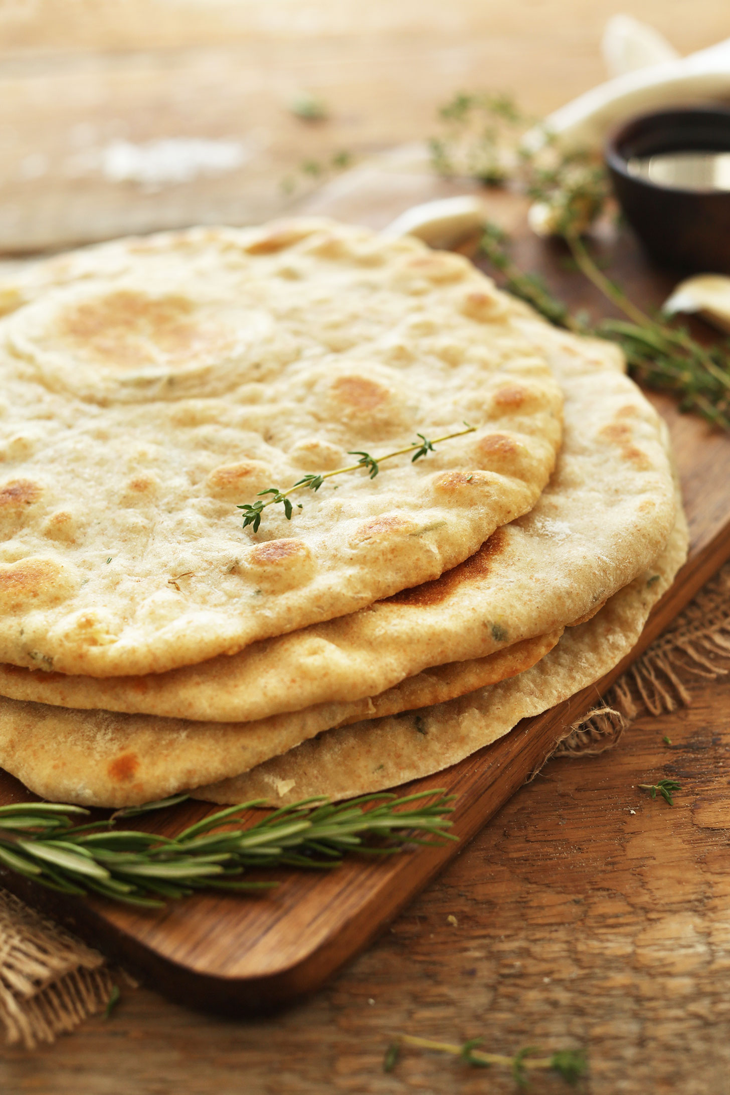 Stack of our healthy Vegan Flatbreads made with garlic and herbs