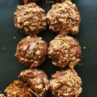 Two columns of Vegan Pumpkin Crumb Muffins