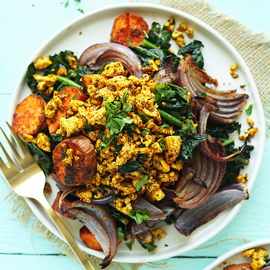Big plate of our Sweet Potato Kale Breakfast Scramble made with roasted vegetables