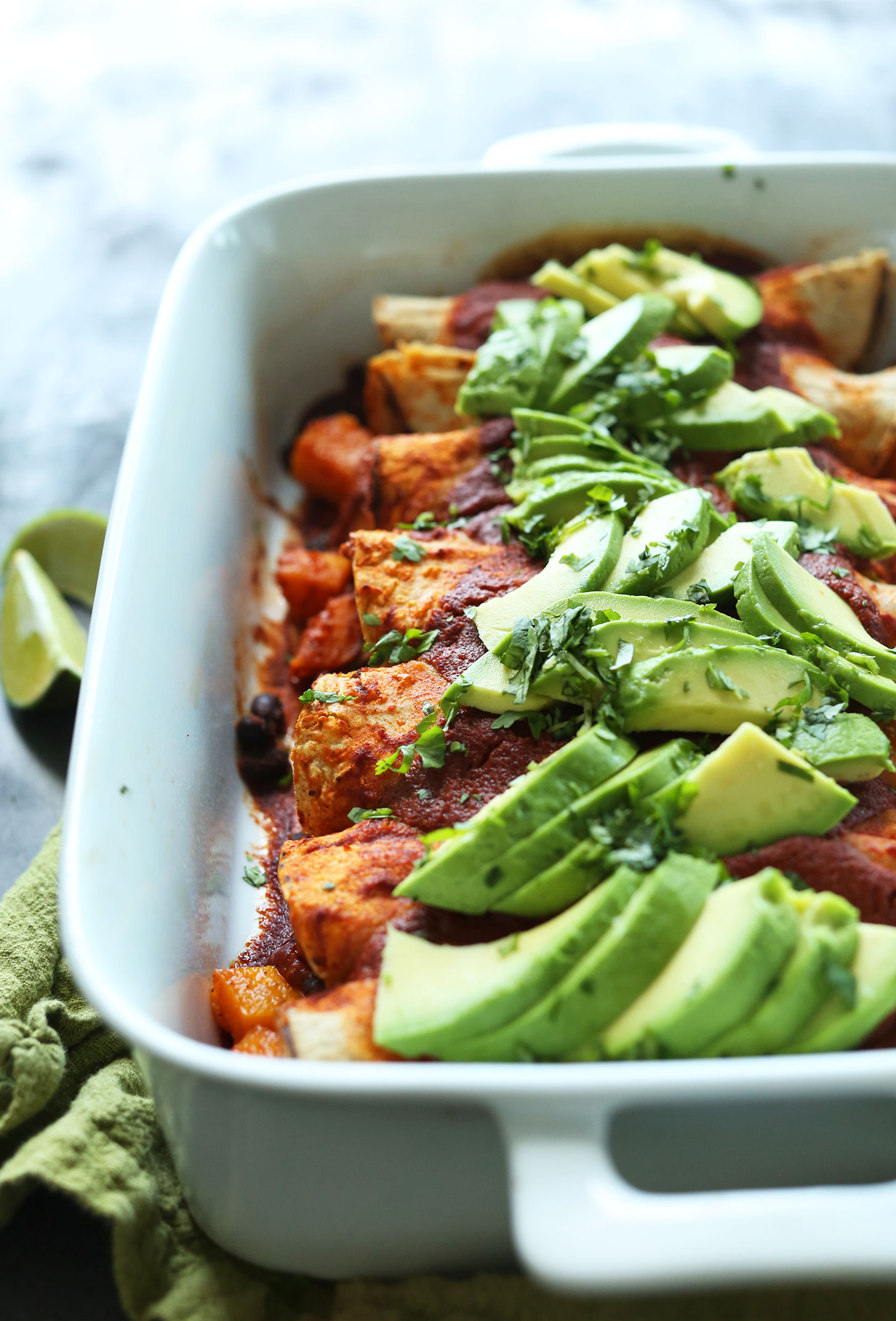 Pan of Butternut Squash Enchiladas for a healthy gluten-free vegan dinner for the whole family