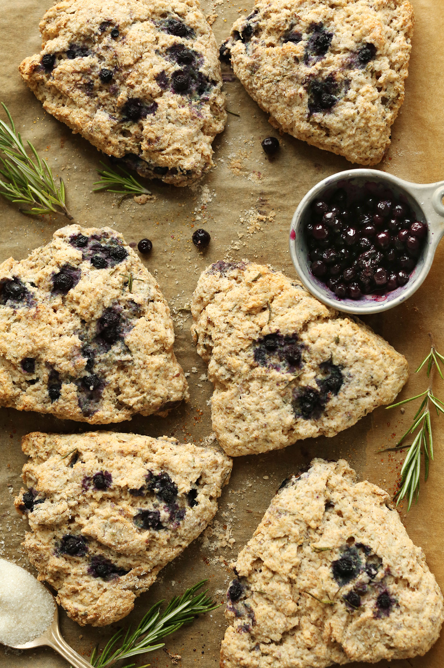 Parchment-lined baking sheet filled with Rosemary Blueberry Scones