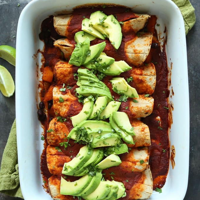 Pan of our healthy gluten-free vegan Butternut Squash and Black Bean Enchiladas recipe