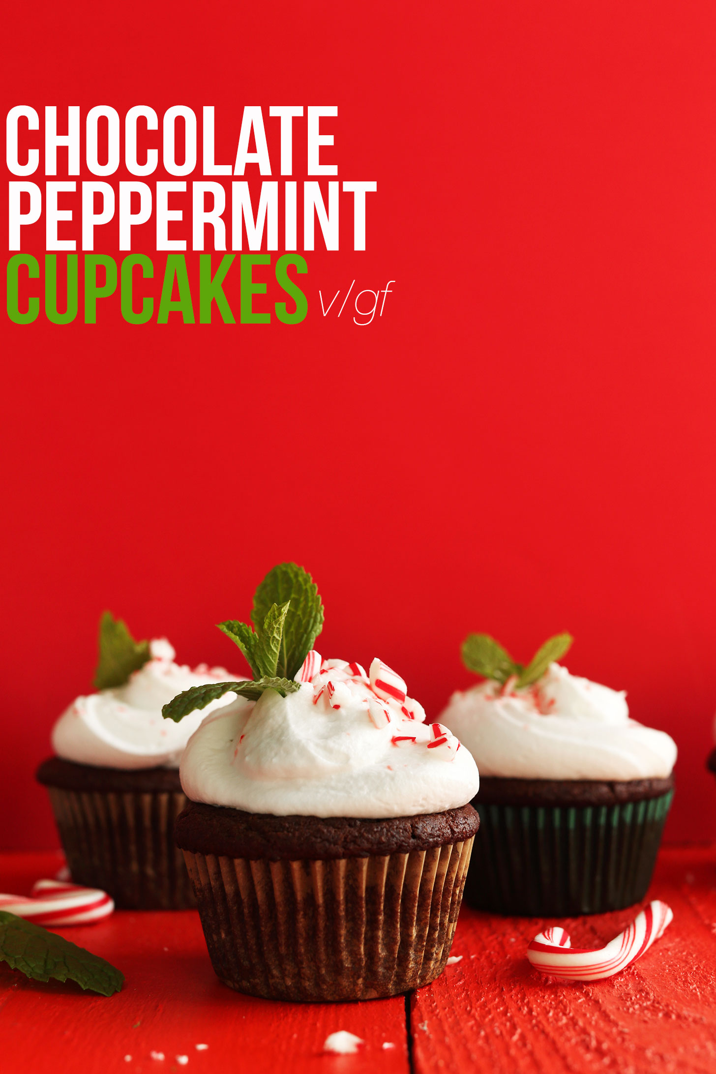 Side view of three of our homemade gluten-free vegan Chocolate Peppermint Cupcakes