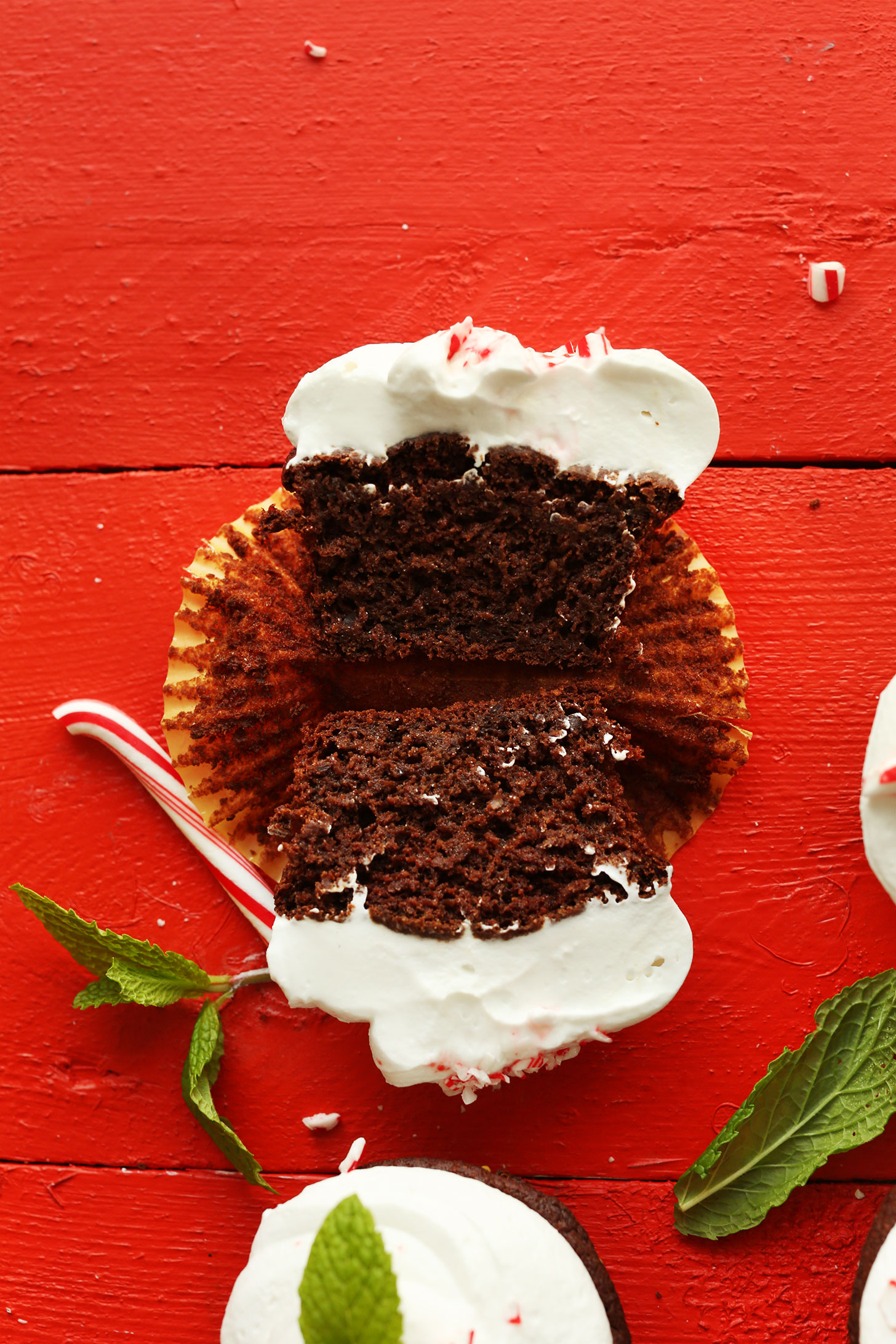 Halved Chocolate Peppermint Cupcake with vegan frosting