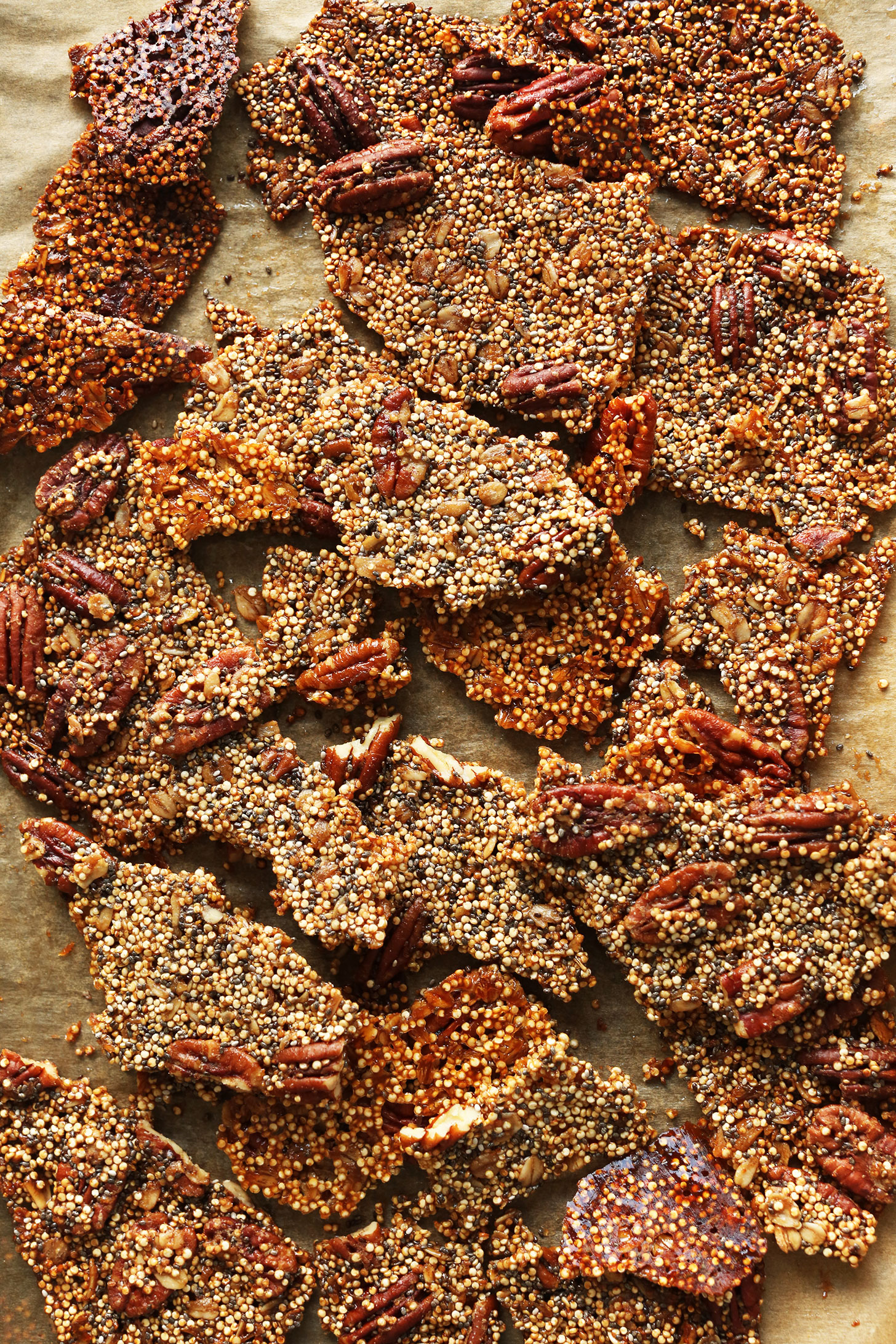 Baking sheet with our naturally-sweetened protein-rich Quinoa Brittle recipe