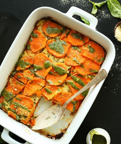 Ceramic baking dish filled with our amazing Vegan Sweet Potato Lasagna recipe