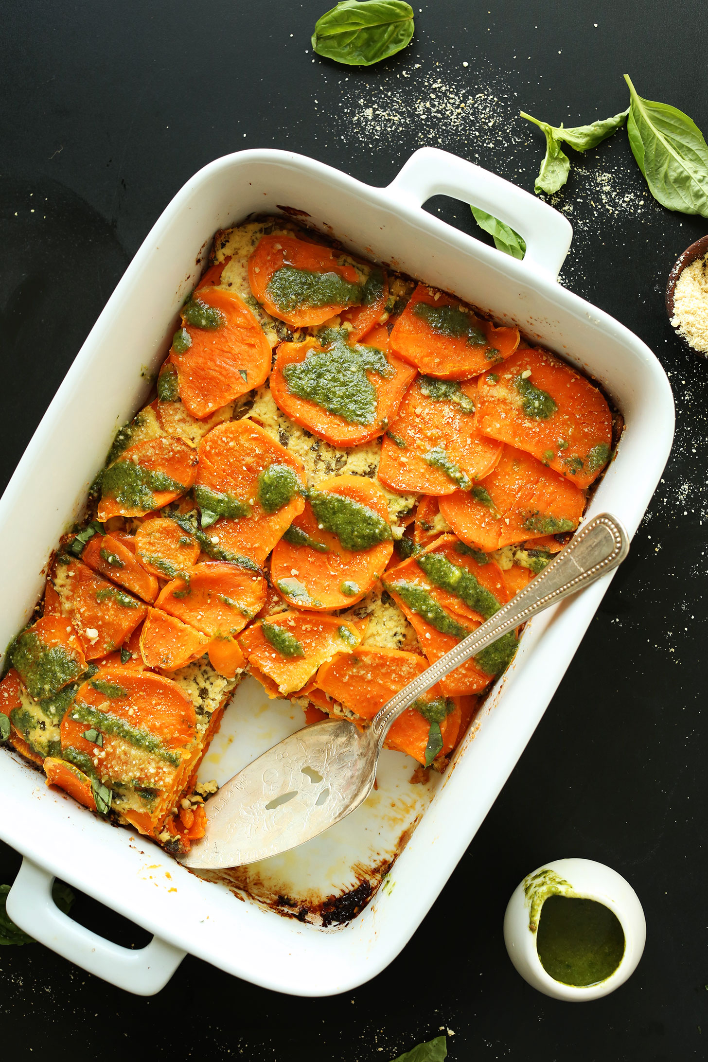 Ceramic baking dish filled with our amazing Vegan Sweet Potato Lasagna recipe