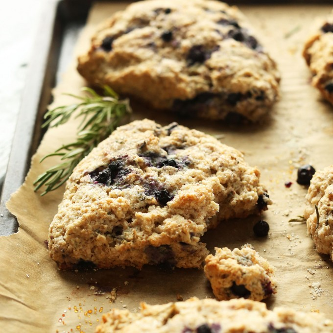 Coconut Oil Blueberry Scones with Rosemary